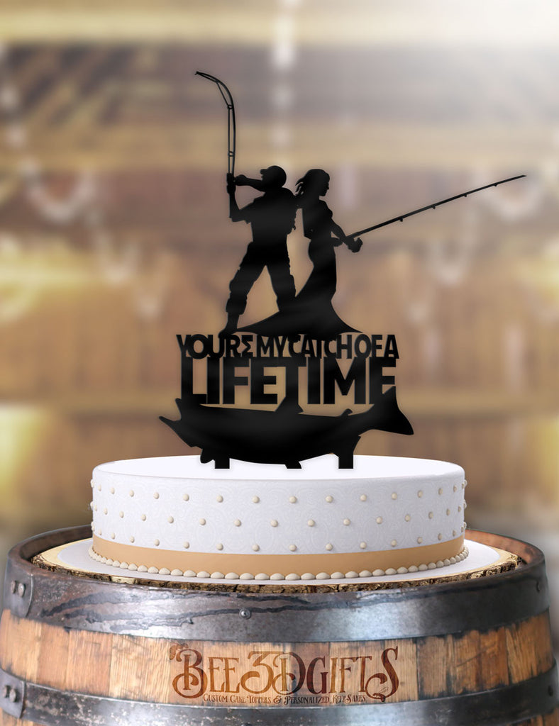 Fishing Couple You're My Catch of A Lifetime Cake Topper - Bee3dgifts