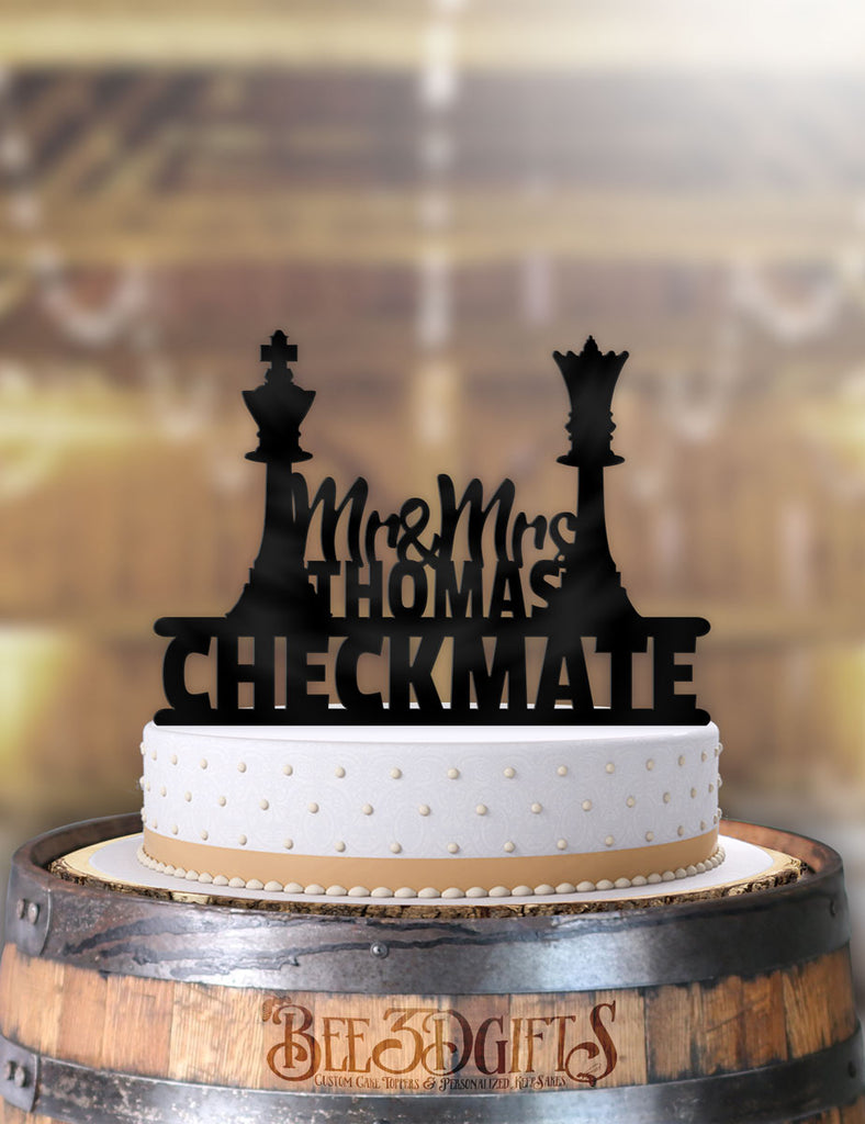 Personalized Checkmate Chess Pieces Mr Mrs with Name Cake Topper - Bee3dgifts