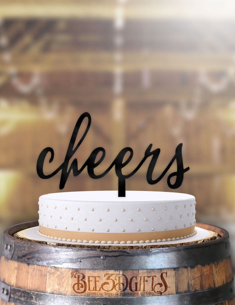 Cheers Typography Cake Topper - Bee3dgifts