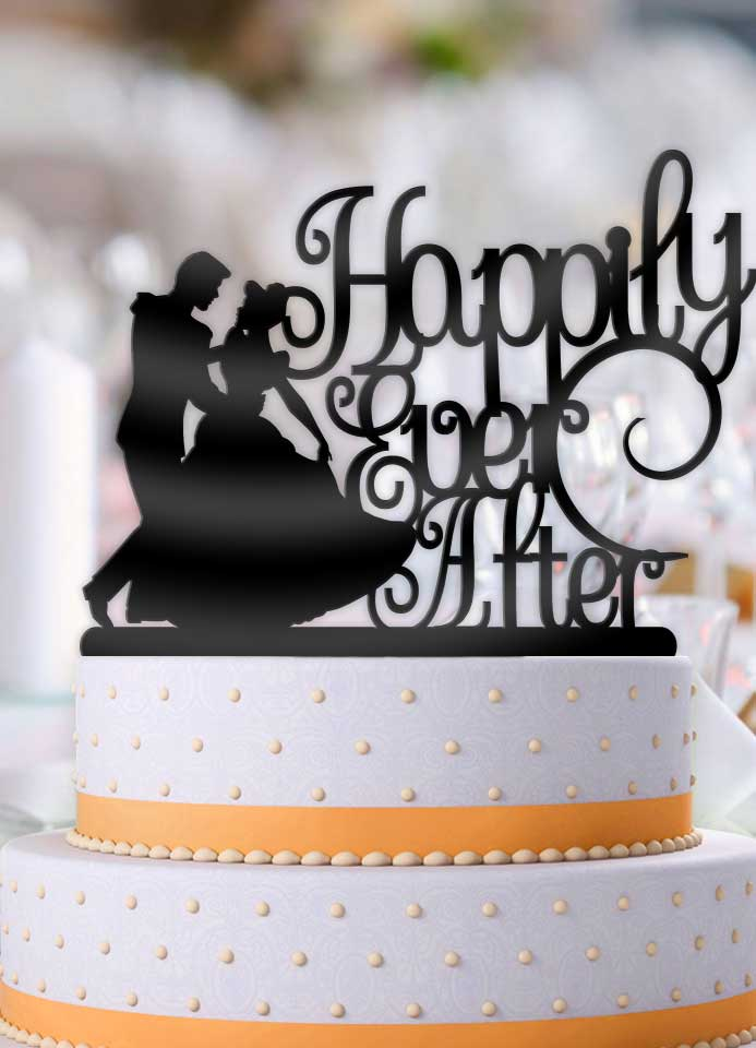 Cinderella and Prince Charming Happily Ever After Wedding Cake Topper - Bee3dgifts