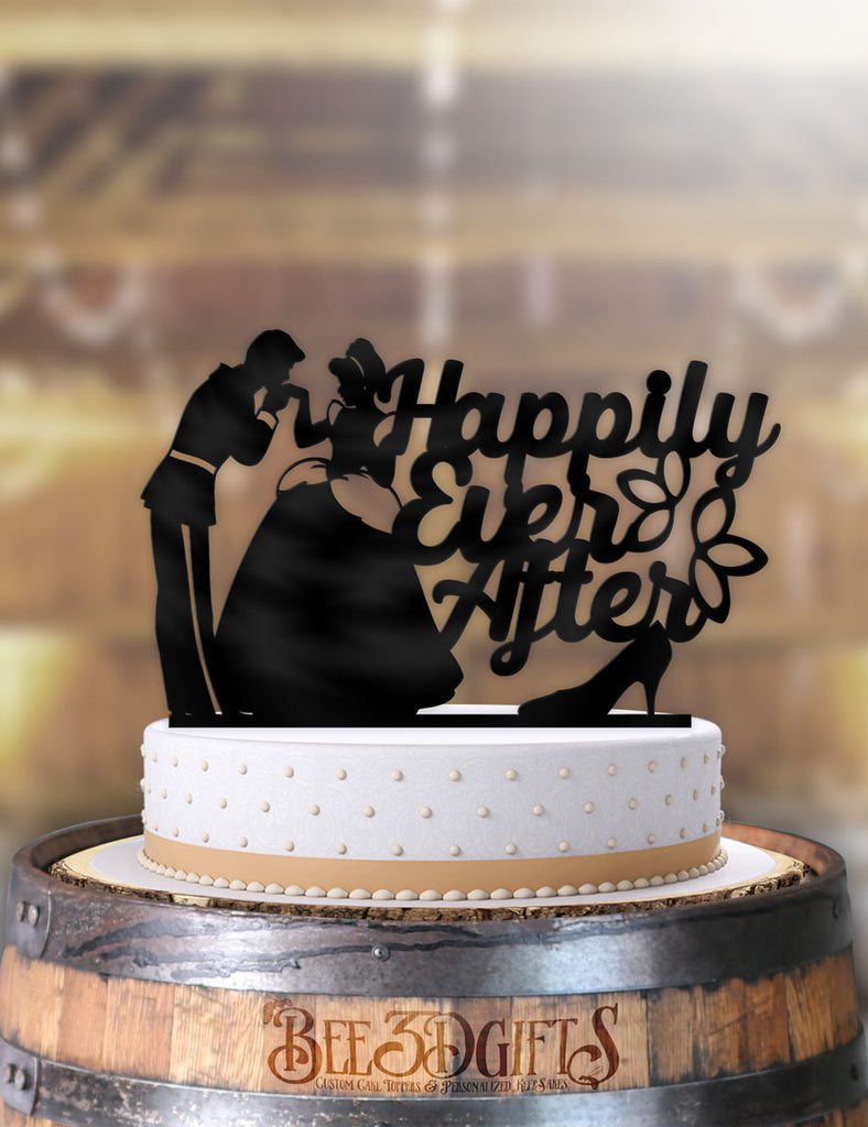 Cinderella and Prince Charming Happily Ever After with Slipper Cake Topper - Bee3dgifts