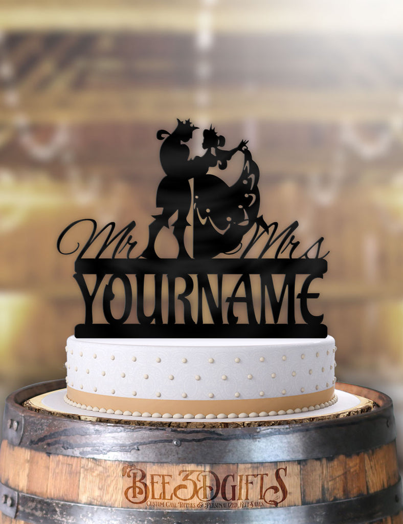 Phenomenal Personalized Classy King And Queen Dance With Name Cake Topper Funny Birthday Cards Online Alyptdamsfinfo