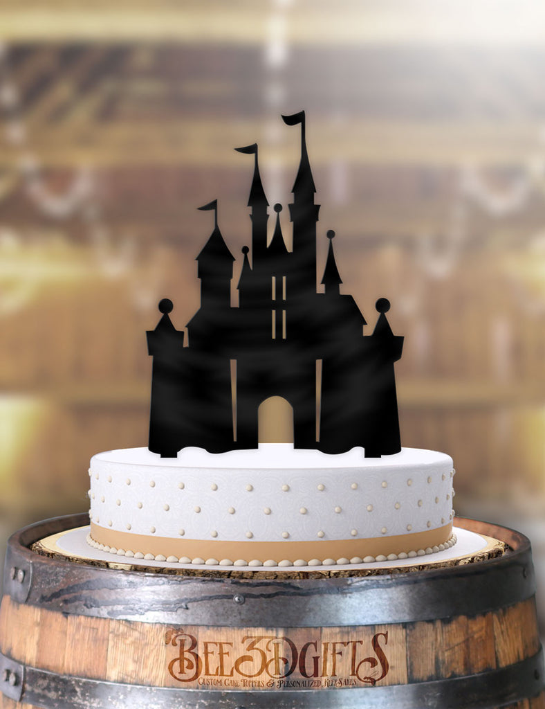 Fabulous Disney Castle Cake Topper Funny Birthday Cards Online Inifofree Goldxyz
