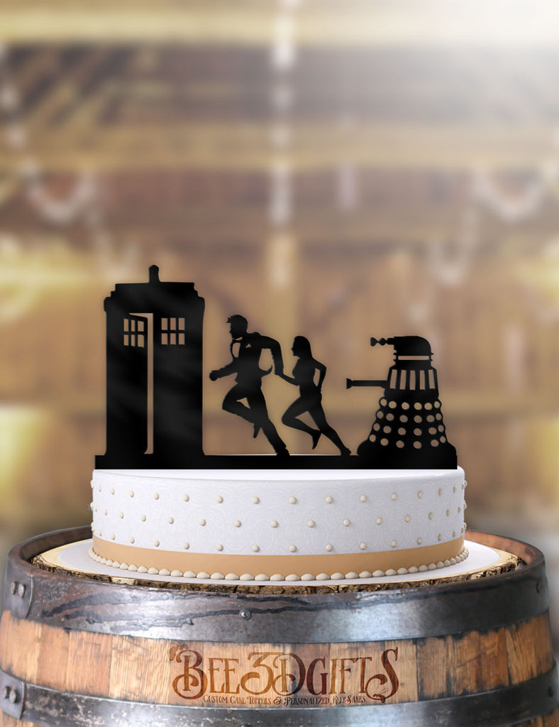 Doctor Who and Companion Rush to the Tardis with Dalek Cake Topper - Bee3dgifts