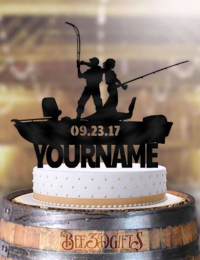Personalized Fishing Couple Boat with Name and Date Cake Topper - Bee3dgifts
