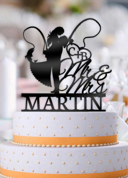 Personalized Fishing Couple With Name And Initials Wedding Cake Topper