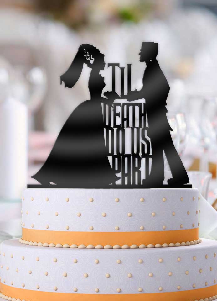 Frankenstein and Bride Til Death Do Us Part Wedding Cake Topper - Bee3dgifts