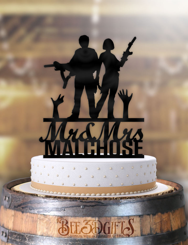 Personalized Glen and Maggie Zombie Apocalypse with Name Cake Topper - Bee3dgifts