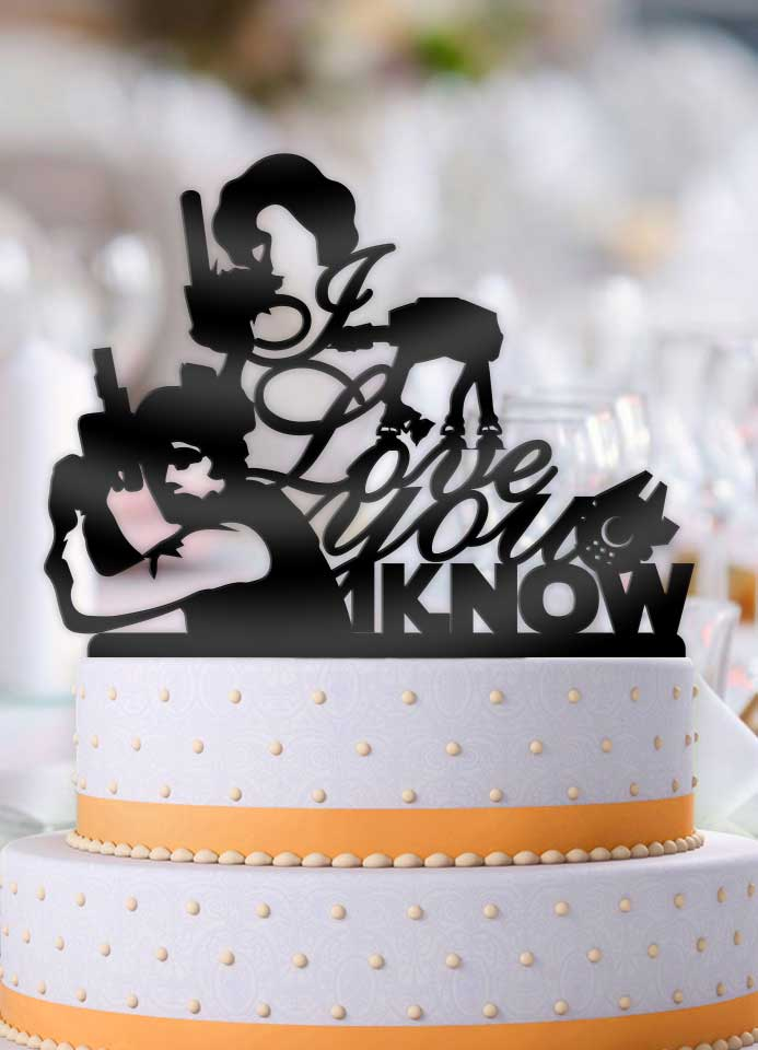 Star Wars Han and Leia I Love You, I Know Pt 3 Wedding Cake Topper - Bee3dgifts