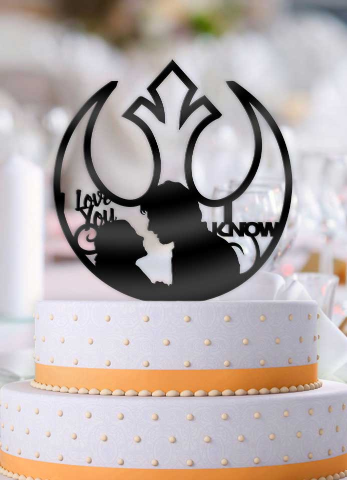 Star Wars Han and Leia I Love You, I Know Alliance Logo Wedding Cake Topper - Bee3dgifts
