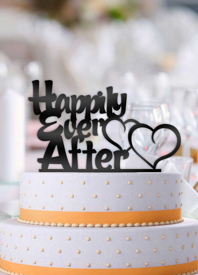 Happily Ever After Double Hearts Typography Wedding Cake Topper - Bee3dgifts