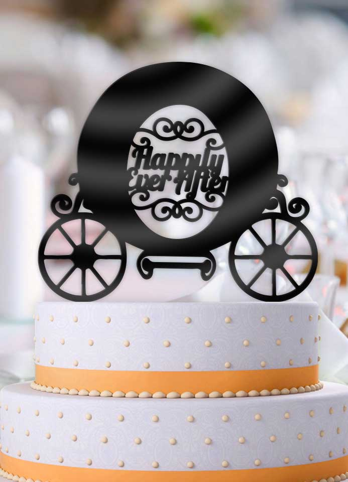 Happily Ever After Carriage Wedding Cake Topper - Bee3dgifts