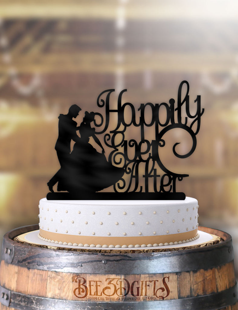 Cinderella and Prince Charming Happily Ever After Cake Topper - Bee3dgifts