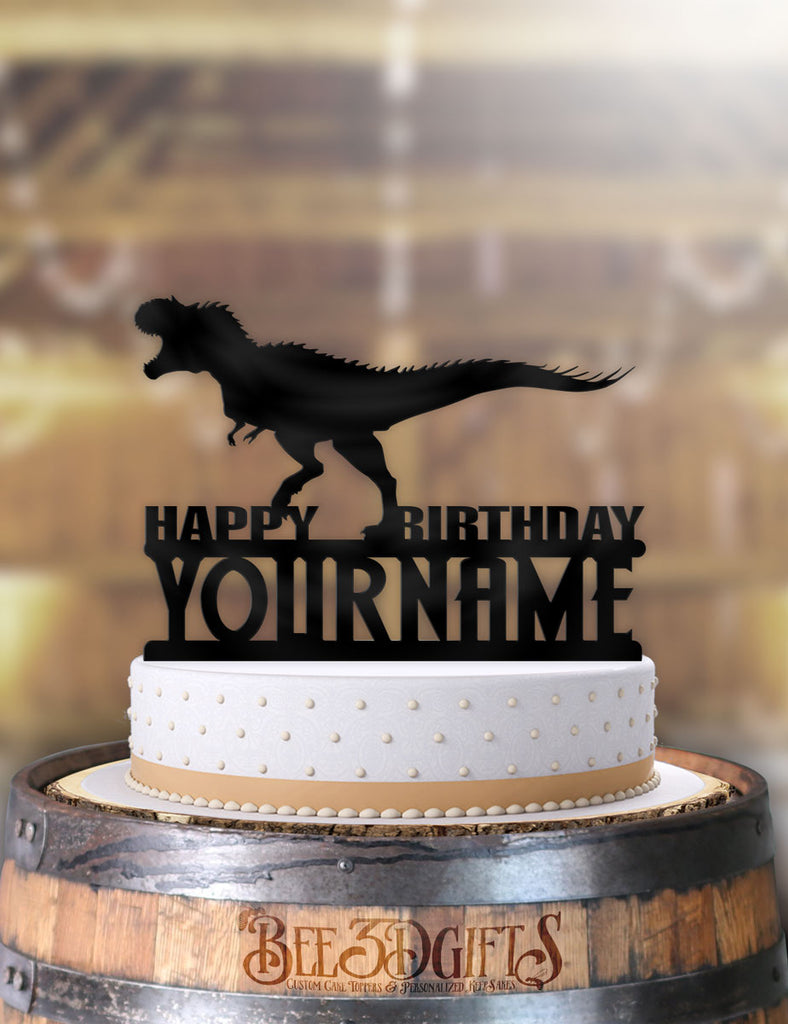 Personalized T-Rex Happy Birthday Cake Topper - Bee3dgifts