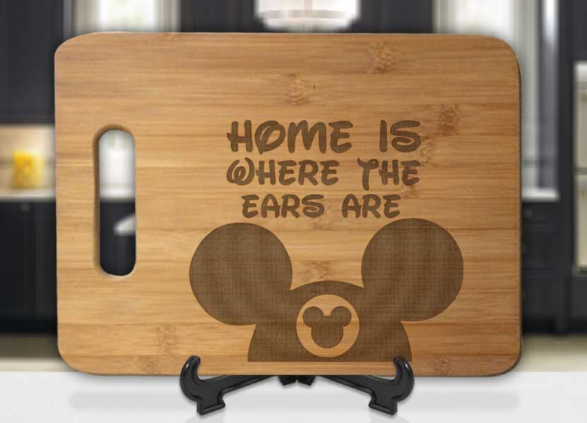Home is Where the Ears Are Mickey Hat Engraved Cutting Board - Bee3dgifts