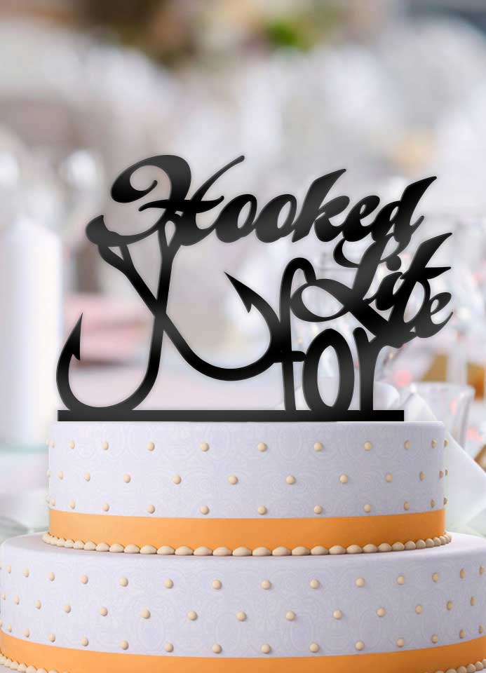 Hooked For Life with Fishhooks Typography Wedding Cake Topper
