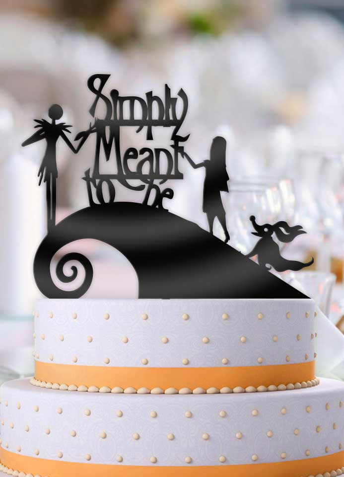 Jack and Sally Simply Meant To Be with Zero Curl Hill Wedding Cake Topper - Bee3dgifts