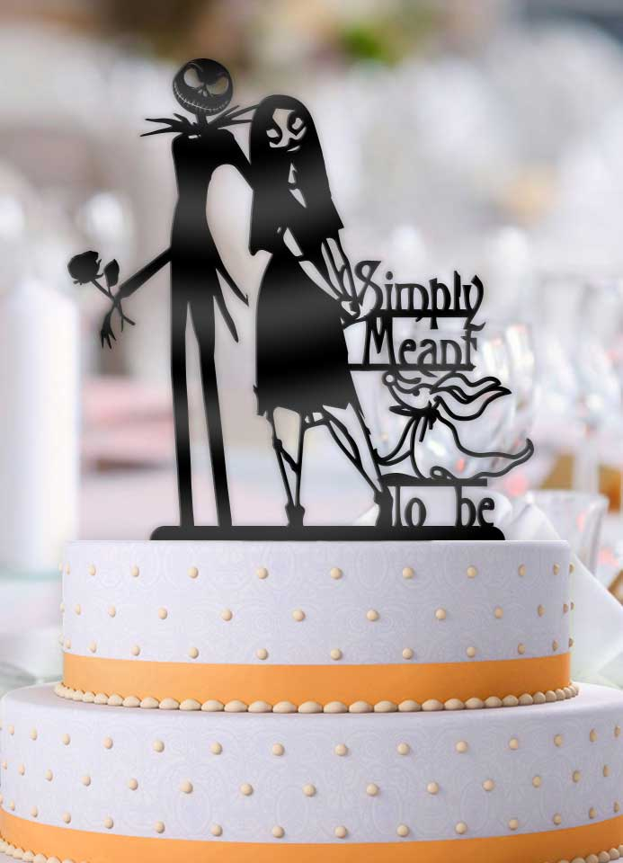 Jack and Sally Simply Meant To Be with Zero Wedding Cake Topper - Bee3dgifts