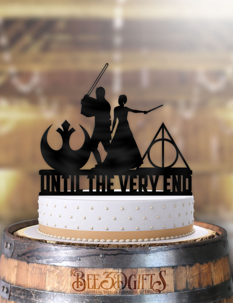 Star Wars Jedi and Harry Potter Mage Bride Until The Very End Cake Topper - Bee3dgifts