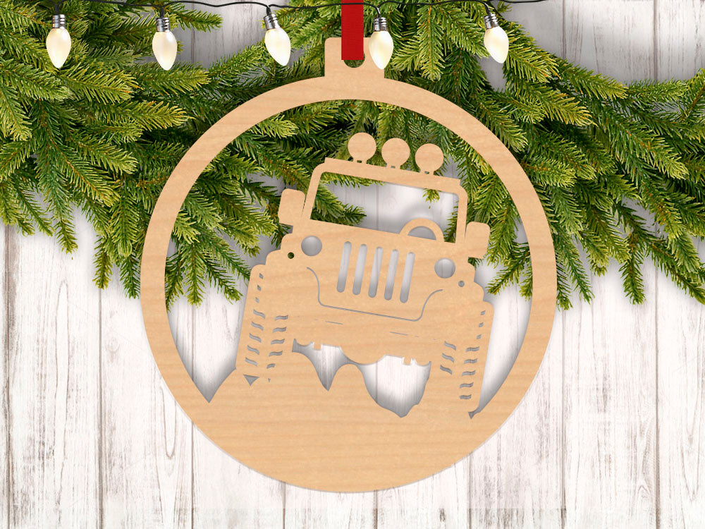 Jeep Christmas Ornament.Jeep Proud With Year Engraved Holiday Christmas Ornament