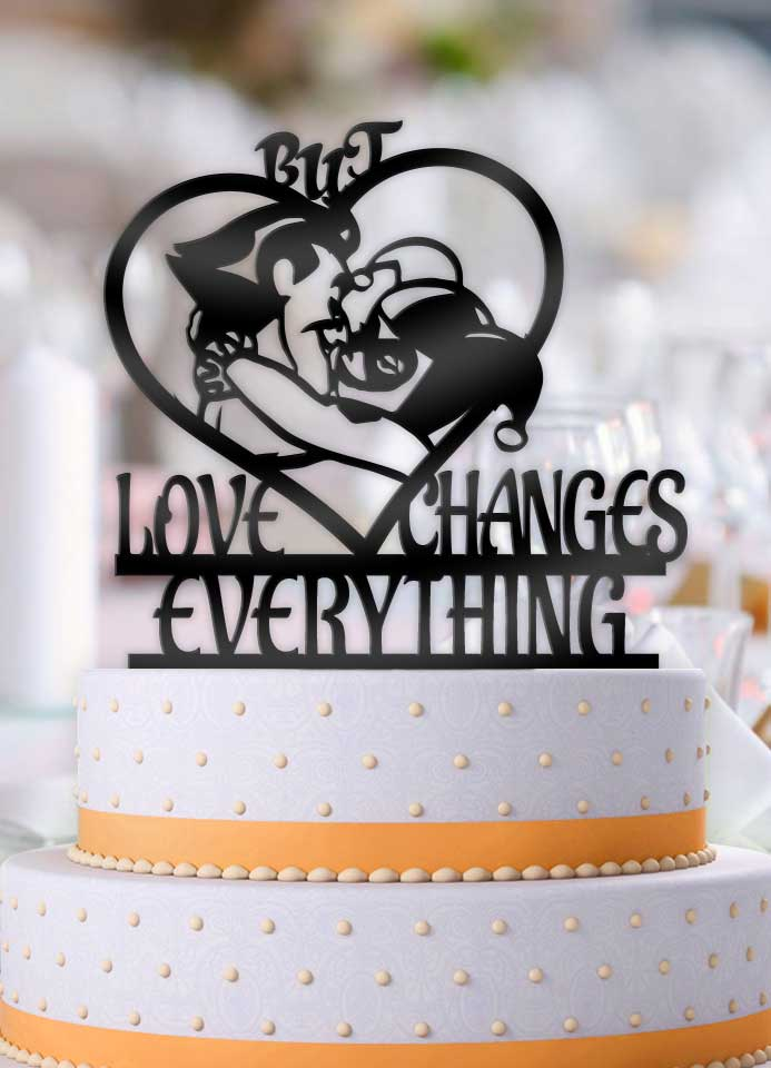 Joker and Harley But Love Changes Everything Wedding Cake Topper - Bee3dgifts