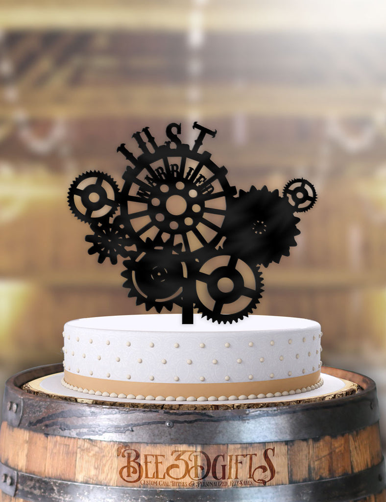 Just Married Steampunk Gears Cake Topper - Bee3dgifts
