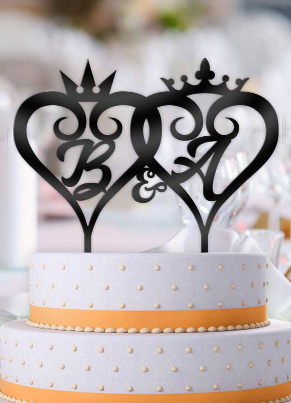 Personalized Curly Hearts Crowns with Initials Wedding Cake Topper - Bee3dgifts