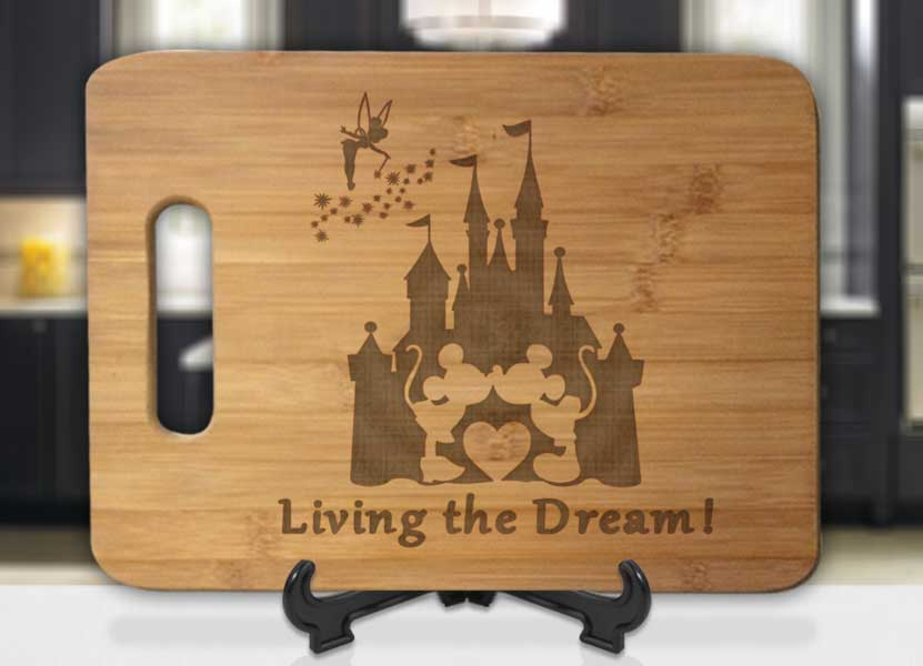Mickey Minnie Kiss Disney Castle Tinkerbell Living The Dream Engraved Cutting Board - Bee3dgifts