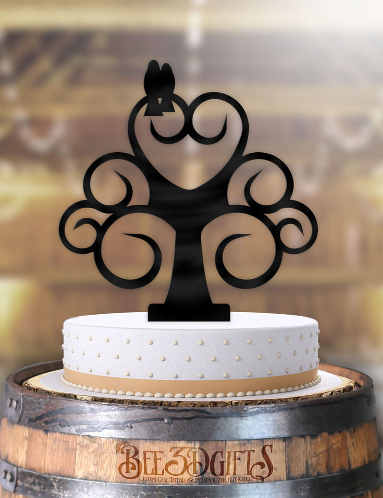 Love Birds Curly Tree Cake Topper - Bee3dgifts