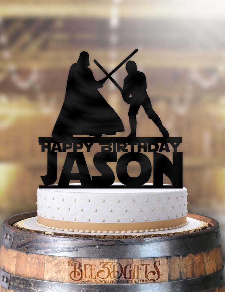 Personalized Star Wars Luke and Vader Fight Happy Birthday with Name Birthday Cake Topper - Bee3dgifts