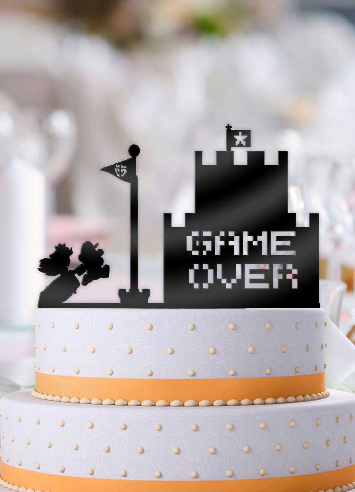 Mario and Peach Game Over Castle Wedding Cake Topper - Bee3dgifts