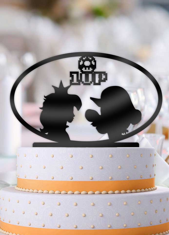 Mario and Peach 1 Up Wedding Cake Topper - Bee3dgifts