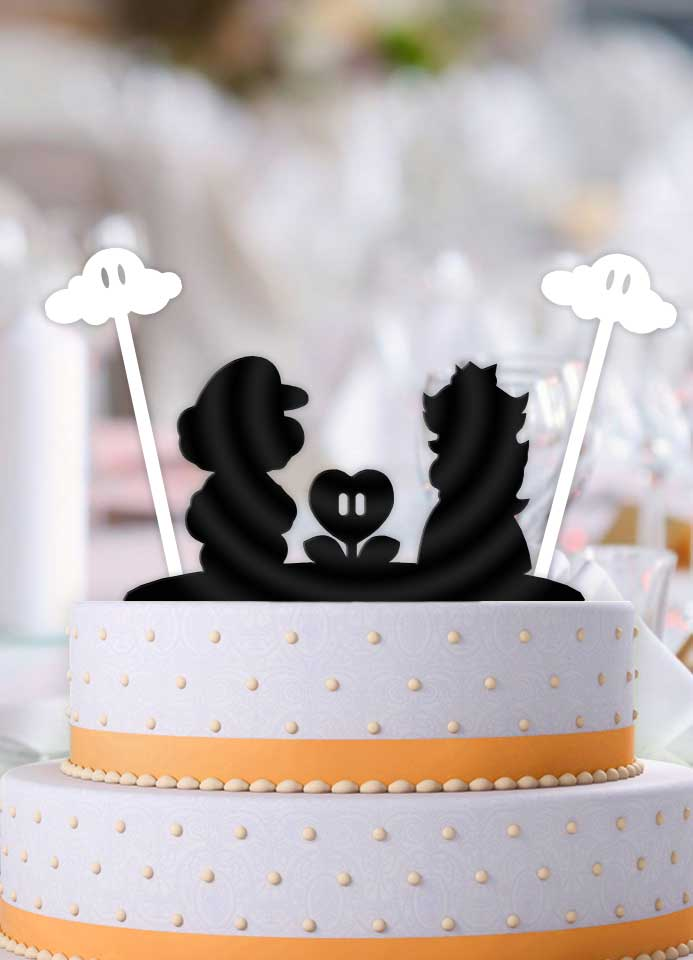 Mario and Peach Flower Power with Clouds Wedding Cake Topper - Bee3dgifts