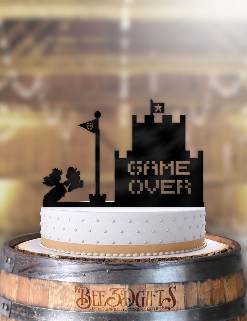 Mario and Peach Game Over Castle Cake Topper - Bee3dgifts