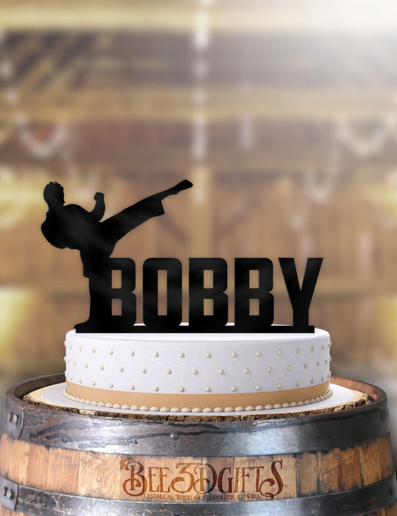 Personalized Male Martial Arts Birthday Cake Topper - Bee3dgifts