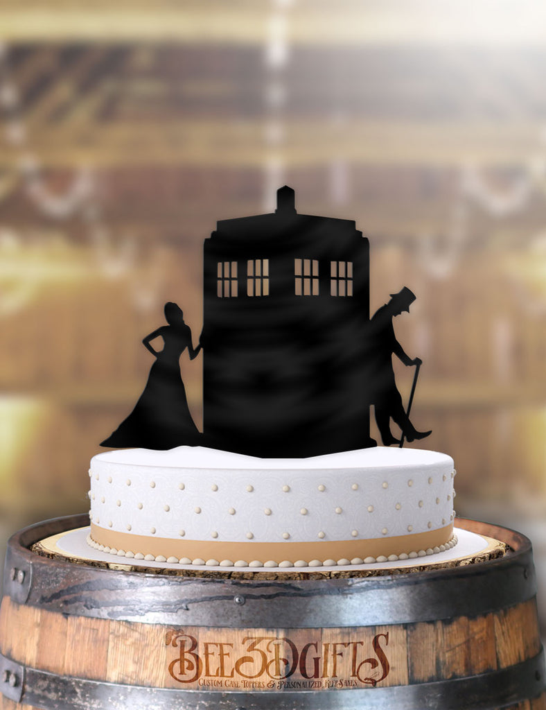 Doctor Who and Companion Leaning Tardis Cake Topper - Bee3dgifts