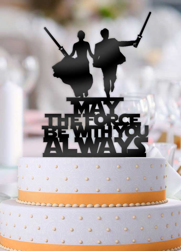 Star Wars Couple May The Force Be With You Always Light Sabers Cake Topper