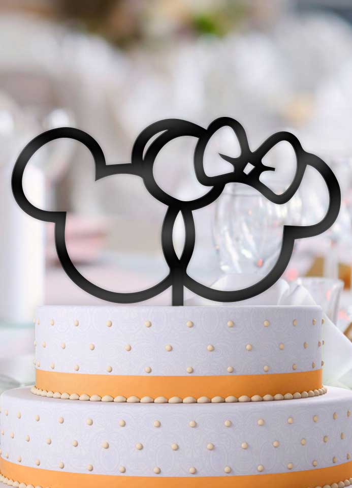 Mickey and Minnie Outline Wedding Cake Topper - Bee3dgifts