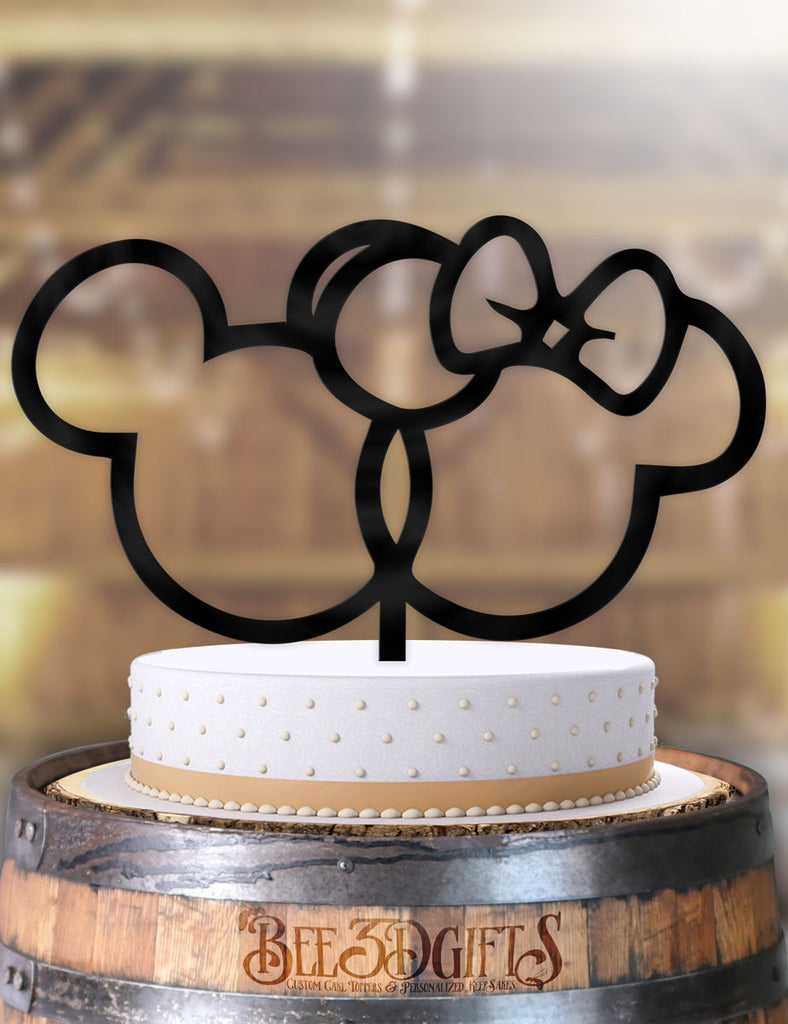 Mickey and Minnie Outline Cake Topper - Bee3dgifts
