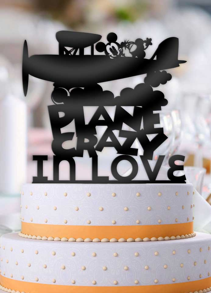 Disney Mickey and Minnie Plane Crazy in Love Wedding Cake Topper - Bee3dgifts