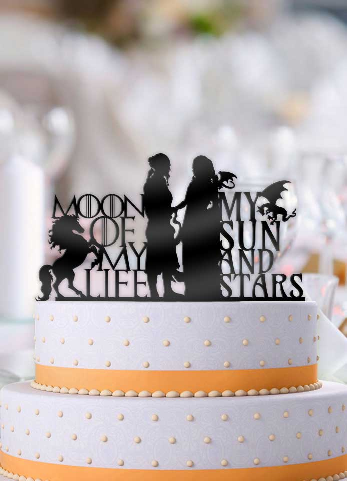 GoT Moon of my Life, My Sun and Stars Wedding Cake Topper - Bee3dgifts