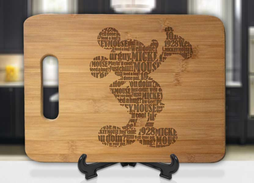 Typography Mickey Mouse Engraved Cutting Board