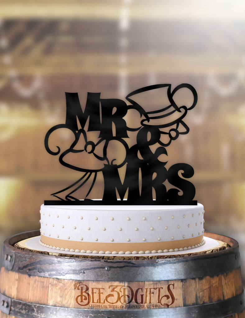 Mickey and Minnie Top hat and Veil Outline Cake Topper - Bee3dgifts
