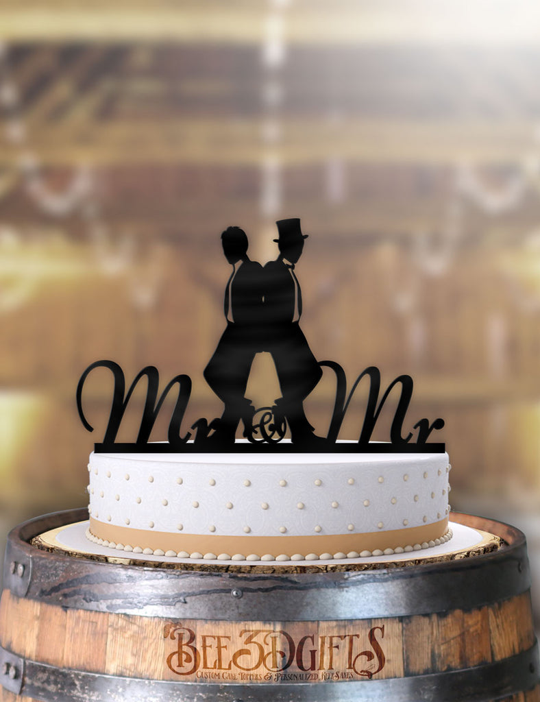 2 Men Back to Back Same Sex Cake Topper - Bee3dgifts