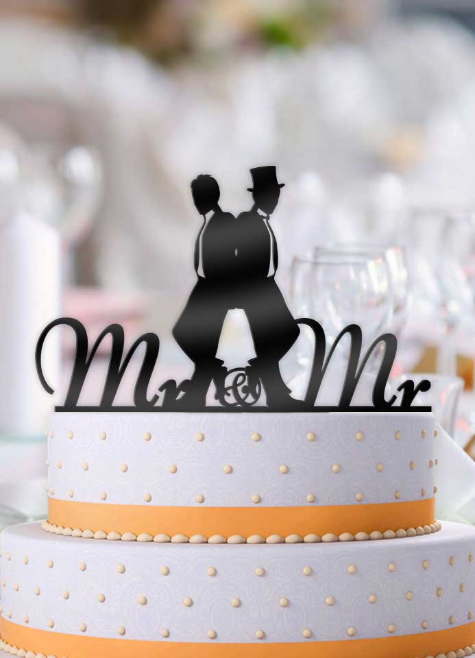 2 Men Back To Same Sex Wedding Cake Topper