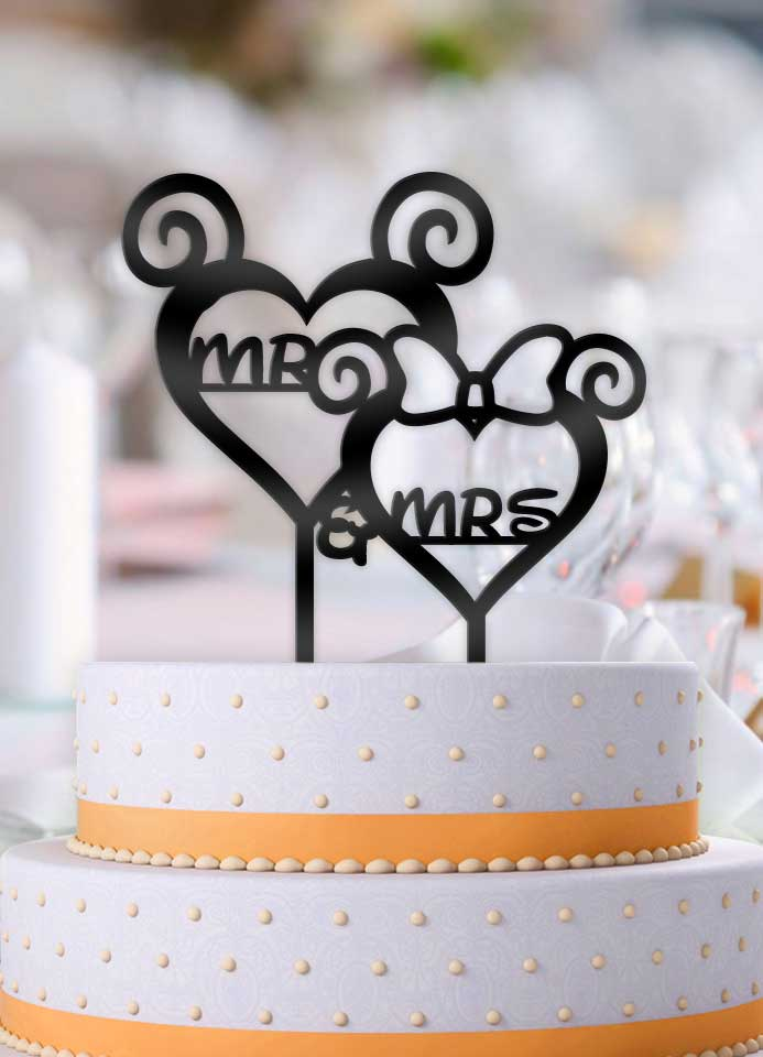 Curly Hearts Mr and Mrs Disney Wedding Cake Topper - Bee3dgifts