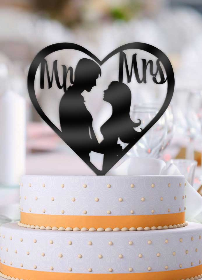 Newly Wed Couple Kiss Mr and Mrs Heart Wedding Cake Topper - Bee3dgifts