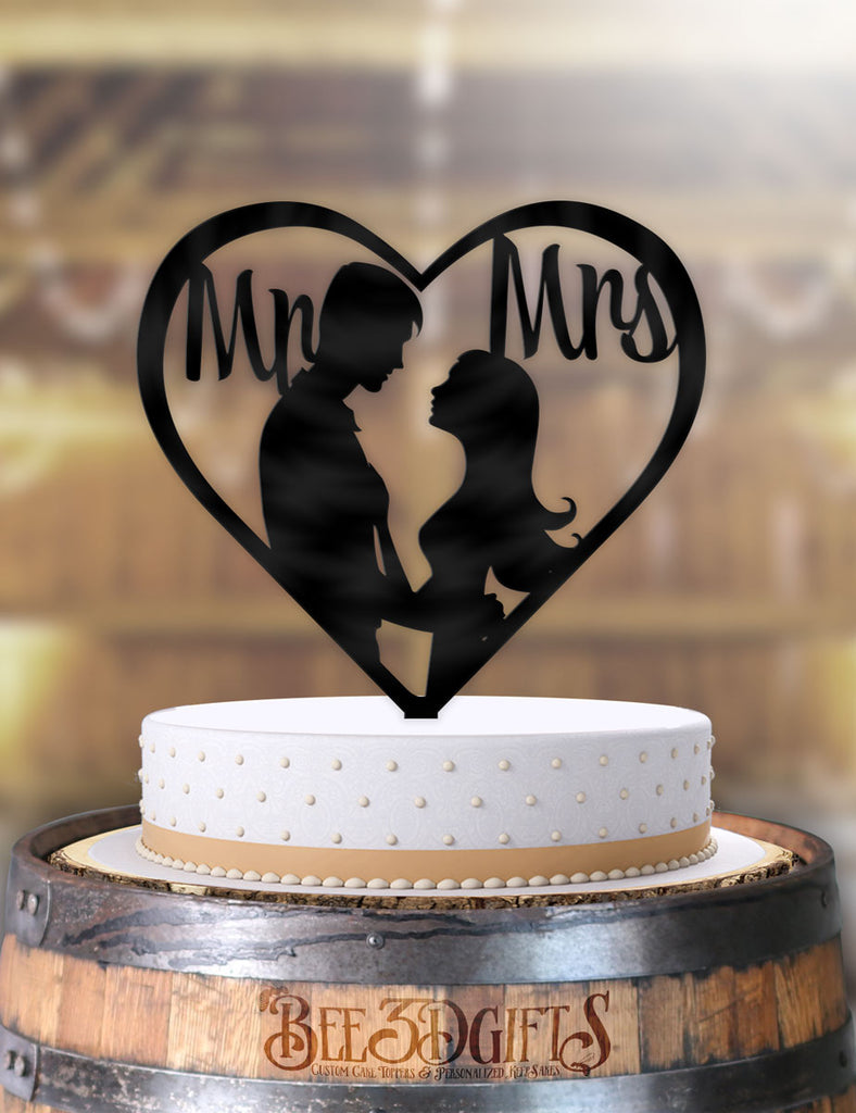 Newly Wed Couple Kiss Mr and Mrs Heart Cake Topper - Bee3dgifts