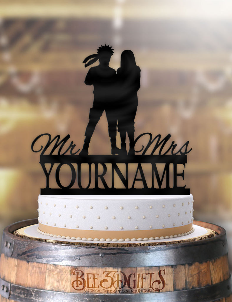 Personalized Naruto and Hinata Mr Mrs with Name Cake Topper - Bee3dgifts