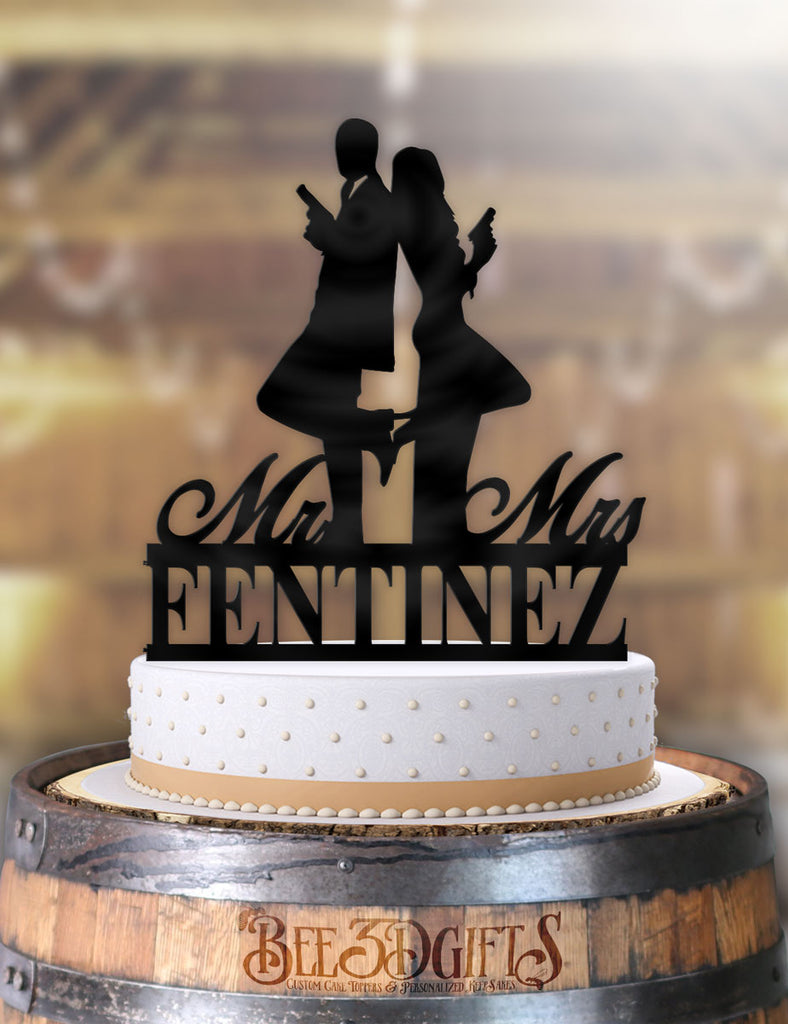 Personalized Mr and Mrs Smith with Name Cake Topper - Bee3dgifts
